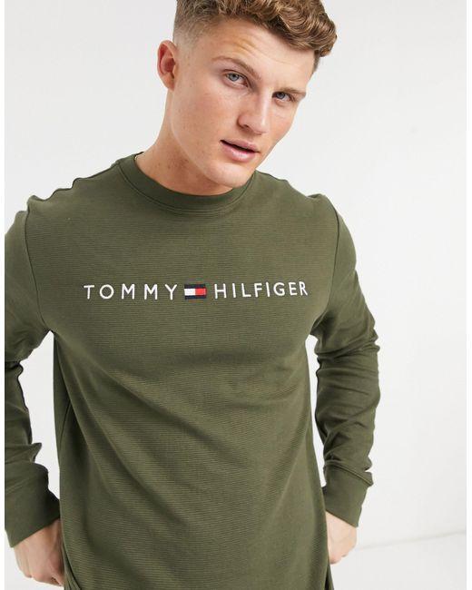 Свитшот Для Дома Оливкового Цвета С Логотипом На Груди -зеленый Цвет Tommy Hilfiger для него, цвет: Green