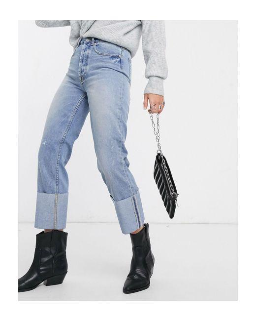 Jeans with dritti con risvolto lavaggio azzurro di ONLY in Blue