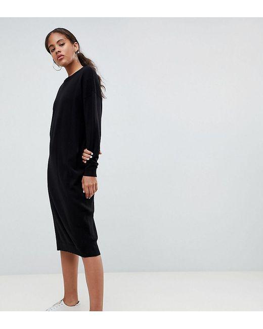 4117052033 ASOS - Black Asos Design Tall Sweater Dress In Fine Knit - Lyst ...