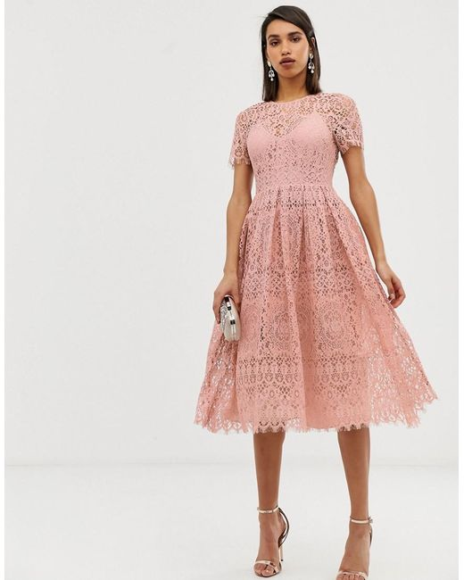 b1500d8daf10 ASOS - Pink Lace Midi With Ribbon Tie And Open Back - Lyst ...