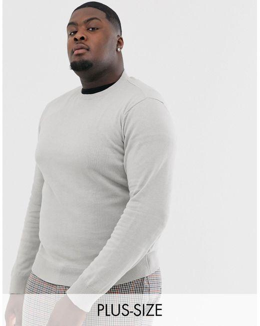 Brave Soul Plus – Strickpullover aus 100% Baumwolle, mit Rundhalsausschnitt in Gray für Herren
