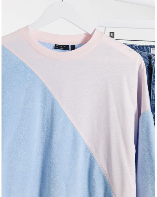 ASOS Blue Oversized T-shirt With 3/4 Sleeve And Contrast Pastel Fabrics for men