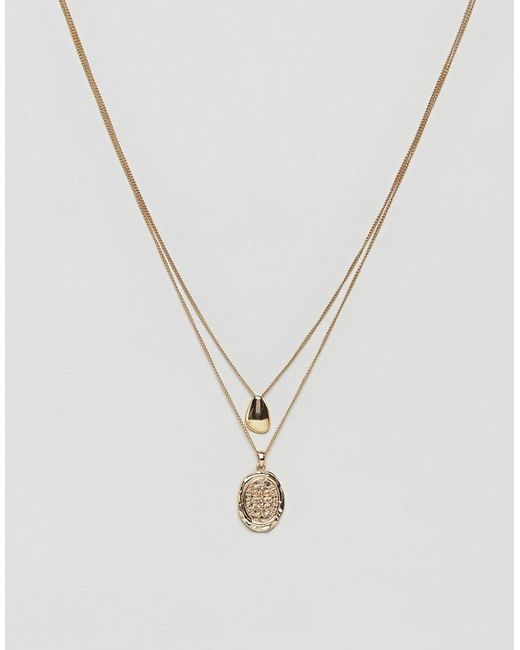 ASOS | Metallic Fluid Shape And Coin Multirow Necklace | Lyst