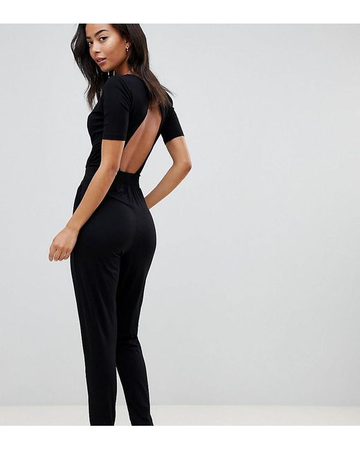 ASOS - Black Asos Design Tall Wrap Front Jersey Jumpsuit With Short Sleeve - Lyst