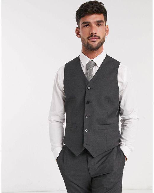 Темно-серый Приталенный Жилет ASOS для него, цвет: Gray