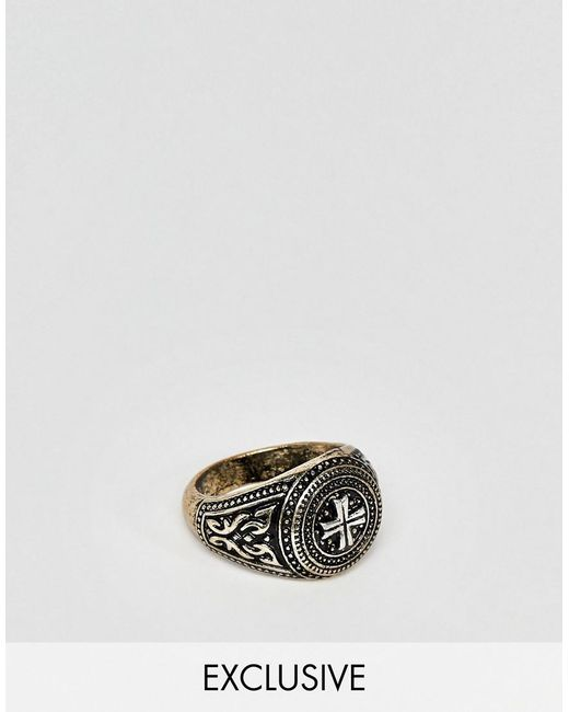 Reclaimed (vintage) - Metallic Inspired Signet Ring With Cross Design Exclusive At Asos for Men - Lyst