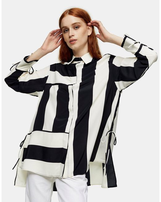 Рубашка В Черно-белую Полоску -многоцветный TOPSHOP, цвет: Black