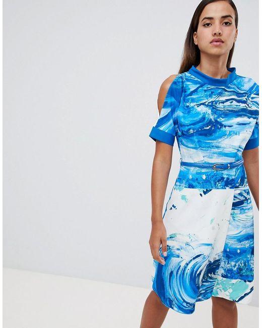De Acampanado Y Color Closet Vestido Lyst Estampado Azul K1uTFJc3l