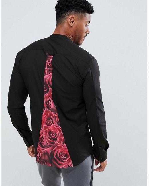 Camisa negra de manga larga con panel de rosas Siksilk de hombre de color Black