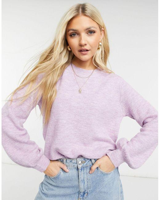 Pieces Purple – Pullover mit Ballonärmeln