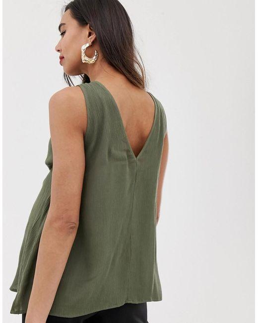 aabb57eb41c14c ... ASOS - Green Asos Design Maternity Sleeveless Button Through Sun Top In  Crinkle - Lyst