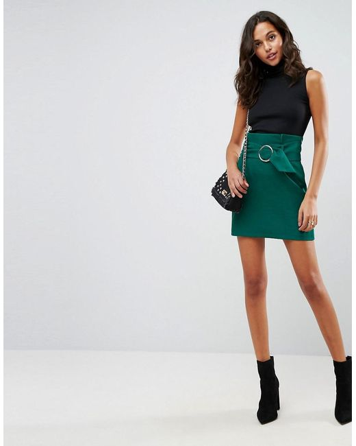 ASOS | Green Tailored Mini Skirt With Metal Circle Buckle | Lyst