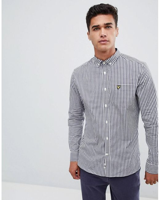 Lyle & Scott - Blue Slim Fit Buttondown Gingham Check Shirt With Stretch In Navy for Men - Lyst
