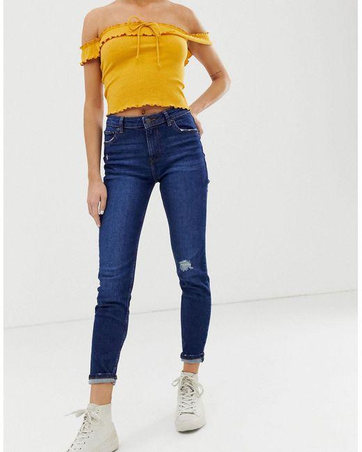 Bershka Blue Skinny Jeans In Navy