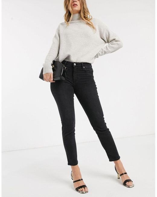 Mango Gray Cropped High Rise Skinny Jean