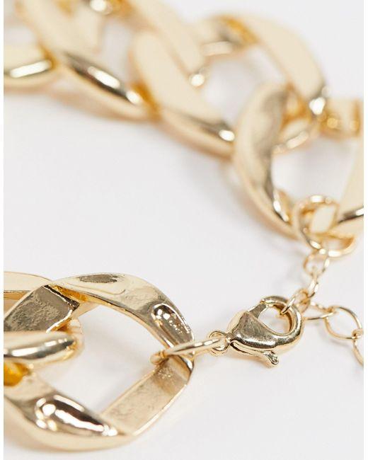Золотистый Браслет-цепочка С Крупными Плоскими Звеньями ASOS, цвет: Metallic