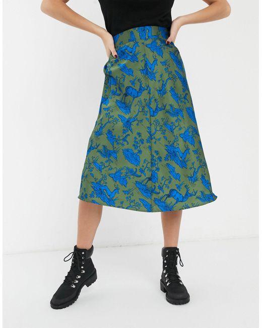 Зеленая Атласная Юбка Миди С Принтом Оленей -зеленый Monki, цвет: Green