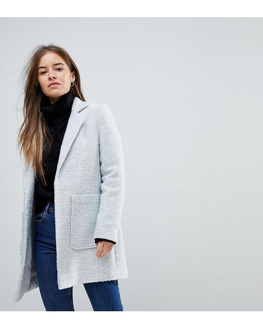 ASOS - Gray Asos Design Petite Slim Coat In Texture - Lyst