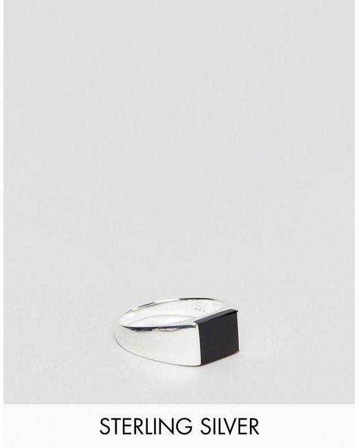 ASOS   Metallic Smart Sterling Silver Signet Ring for Men   Lyst
