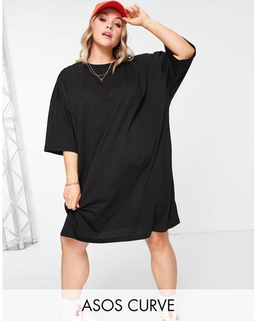 Vestido estilo camiseta negro extragrande ASOS de color Black