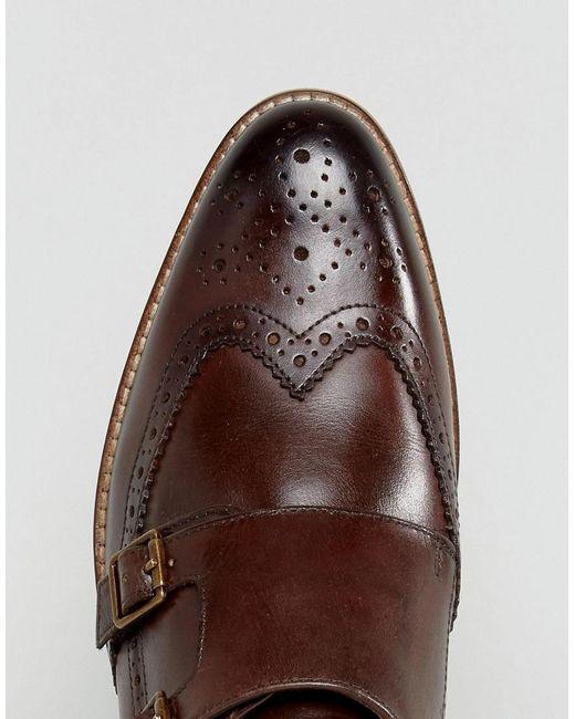 Chaussures De Moine Asos En Cuir Marron Avec Brogue Détail - Marron xhFDj