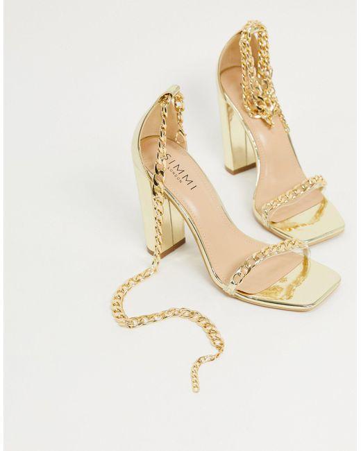 Simmi - London Arika - Sandales à talons carrés avec chaîne SIMMI Shoes en coloris Metallic