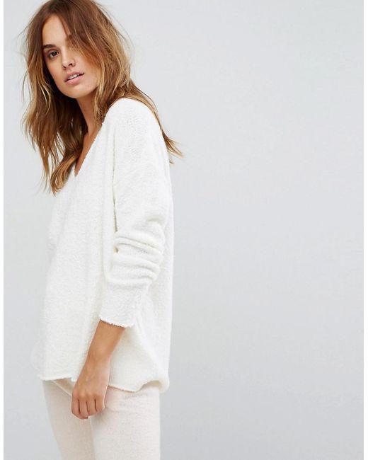 Micha Lounge | White Boucle Oversized Boyfriend Sweater | Lyst