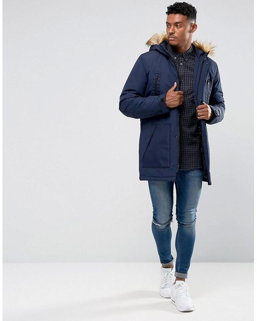 Asos Parka Jacket With Faux Fur Trim In Navy in Blue for Men | Lyst