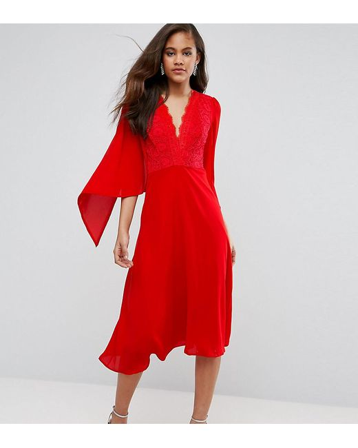 5f9caccd40a0 John Zack - Red Lace Panel Midi Skater Dress With Cape Detail - Lyst ...