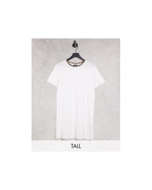 Белое Платье-футболка С Контрастной Окантовкой С Леопардовым Принтом -белый Brave Soul, цвет: White