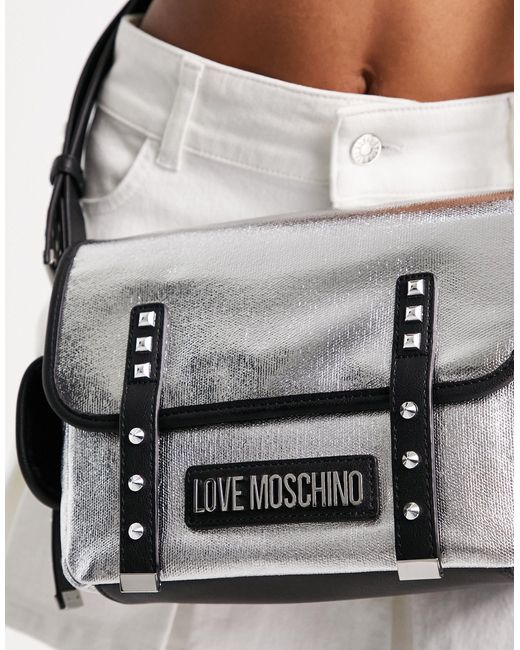 Серебристая Сумка-портфель С Логотипом -серебристый Love Moschino, цвет: Metallic