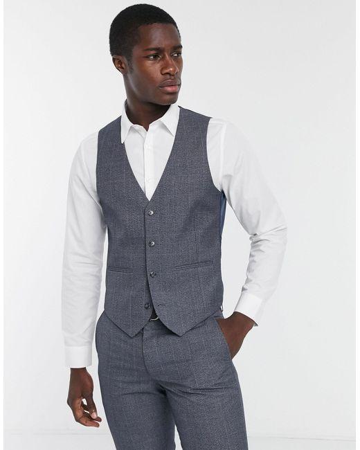 Farah Gray Grey Check Slim Fit Suit Waistcoat for men