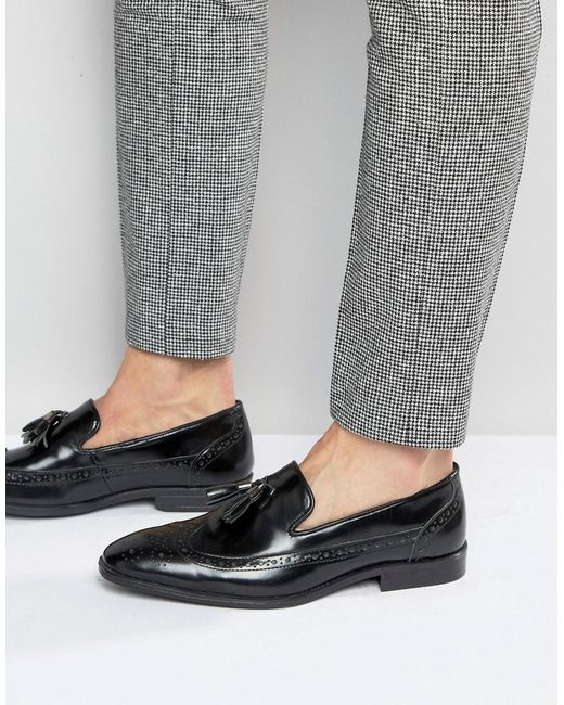 ASOS Asos Brogue Loafers In Black Leather With Tassel for men