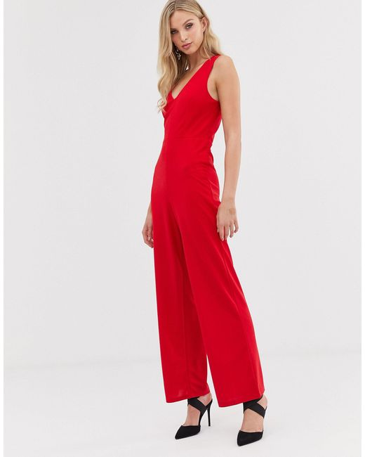 Комбинезон С V-образным Вырезом И Широкими Штанинами -красный AX Paris, цвет: Red