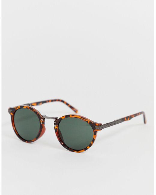Круглые Солнцезащитные Очки В Черепаховой Оправе ASOS для него, цвет: Brown