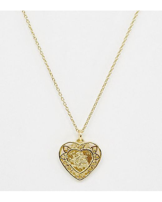 ASOS Metallic Sterling Silver With Gold Plate Heart Pendant Necklace With Dragon Design
