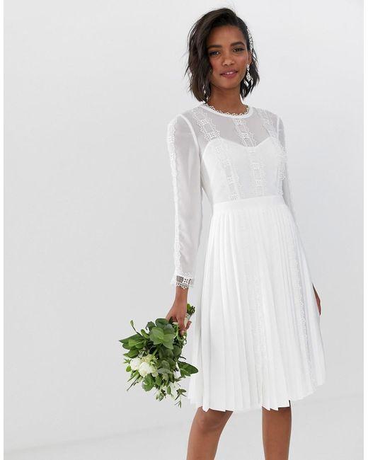 Bridal Lace Trim Pleated Skirt Dress