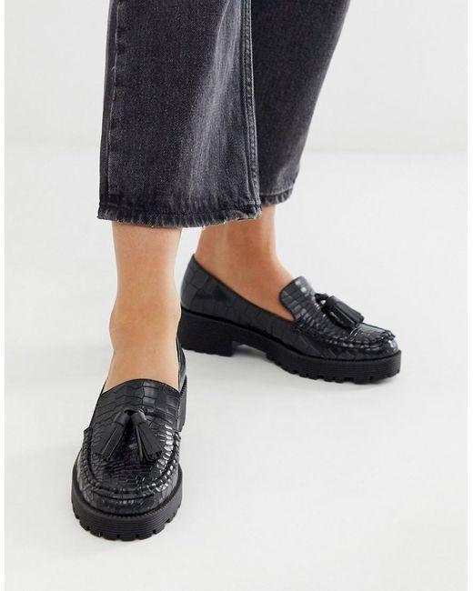 London Rebel Loafers Met Dikke Zool, Kwastjes In Zwart Imitatiekrokodillenleer in het Black