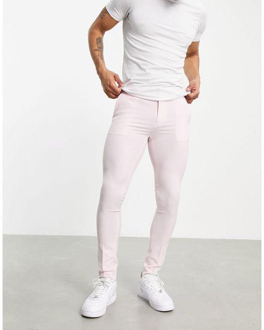 Супероблегающие Строгие Брюки Пастельно-розового Цвета ASOS для него, цвет: Pink