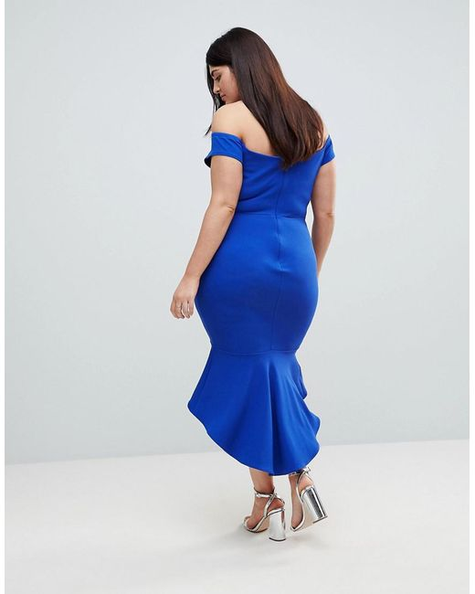 ... John Zack - Blue Off Shoulder Ruffle Midi Dress - Lyst c096a2c12