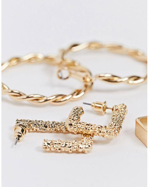 Набор Золотистых Серег-колец -золотой River Island, цвет: Metallic