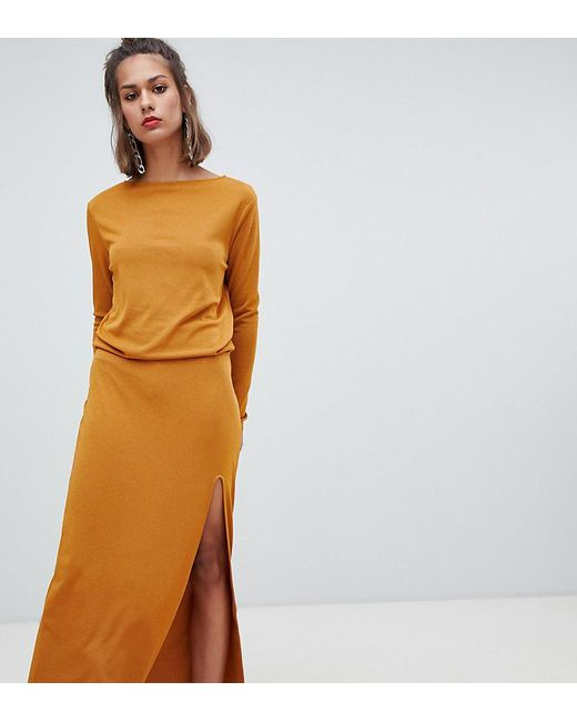 bd0404462031 Pull&Bear Maxi Dress With Elastic Waist in Yellow - Lyst