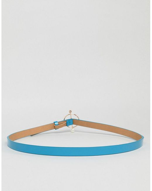 Ring And Bar Pearl Detail Hip And Waist Belt - Blue Asos Curve uIRxNeZm85