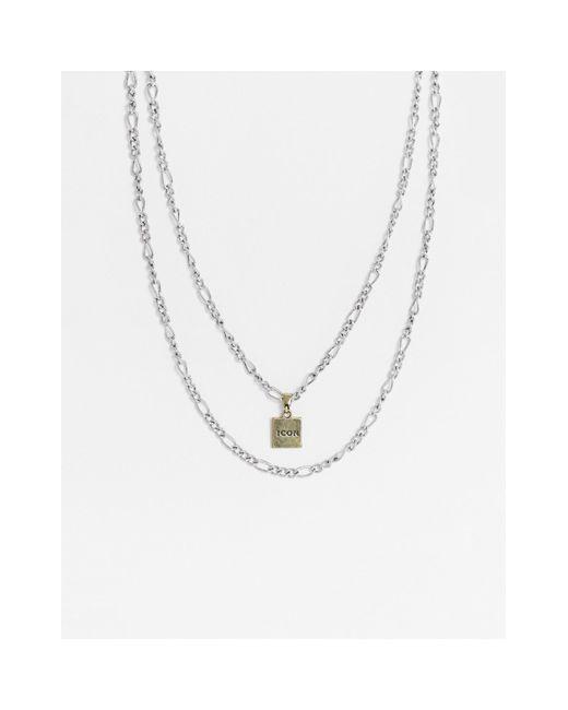 Серебристые Цепочки В Несколько Рядов С Золотистой Подвеской С Гравировкой -серебристый Icon Brand для него, цвет: Metallic