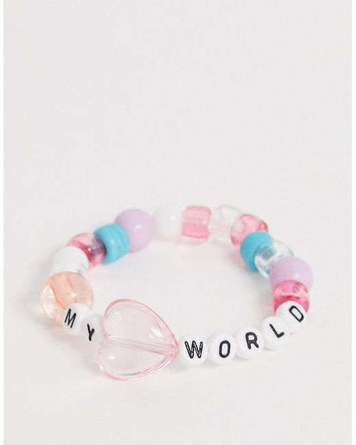 ASOS Pink Stretch Bracelet With Letter Plastic Beads