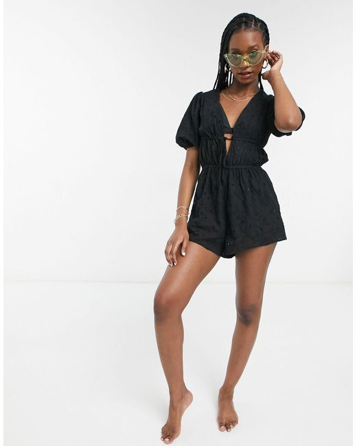 Черный Пляжный Ромпер С Вышивкой Ришелье Fashion Union, цвет: Black