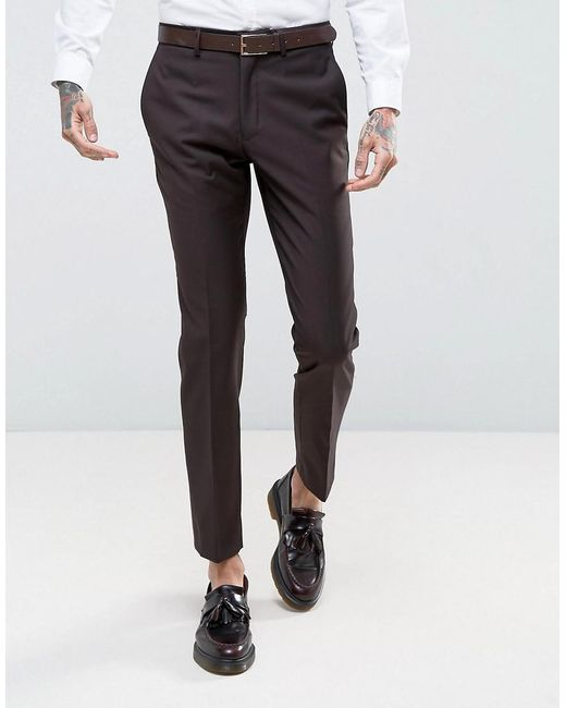 French Connection   Red Slim Fit Plain Burgundy Suit Pants for Men   Lyst