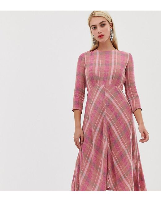 a31bb3f6b Mango Check Midi Dress In Pink in Pink - Save 41% - Lyst