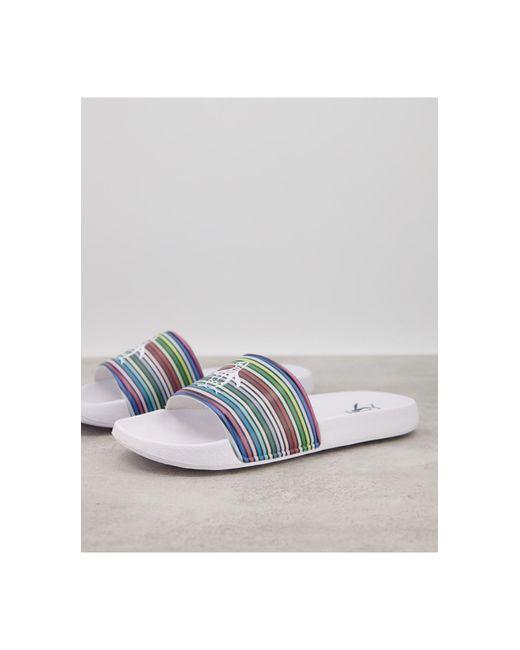 Шлепанцы В Разноцветную Полоску С Логотипом -многоцветный Original Penguin для него, цвет: White