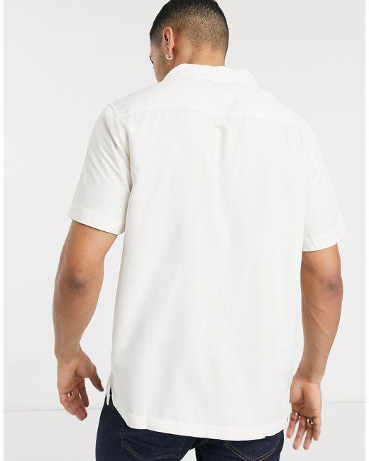 Светлая Рубашка С Короткими Рукавами И Отложным Воротником -белый Topman для него, цвет: White